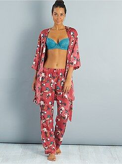 Intimo dalla S alla XXL Pantaloni pigiama satinati motivi giapponesi
