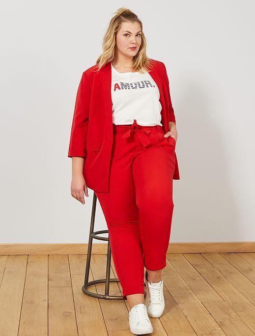 Pantaloni pince con cintura                             ROSSO Taglie forti donna