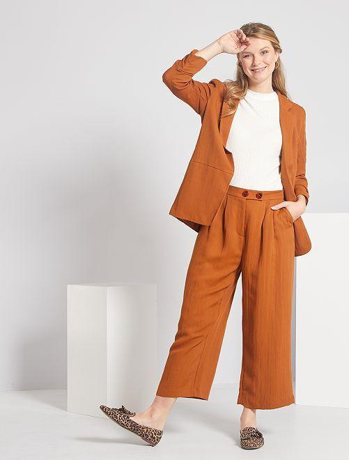 Pantaloni pinocchietto larghi                             MARRONE