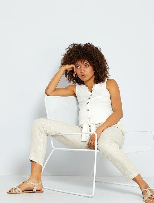 Pantaloni premaman in lino e viscosa                             BEIGE