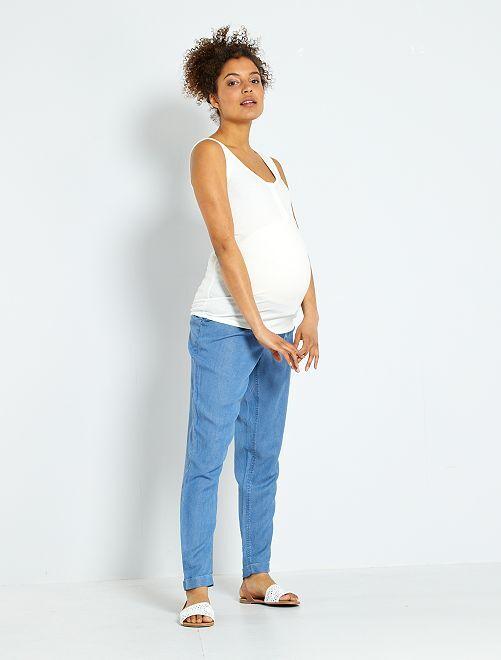 Pantaloni premaman in tencel                              BLU