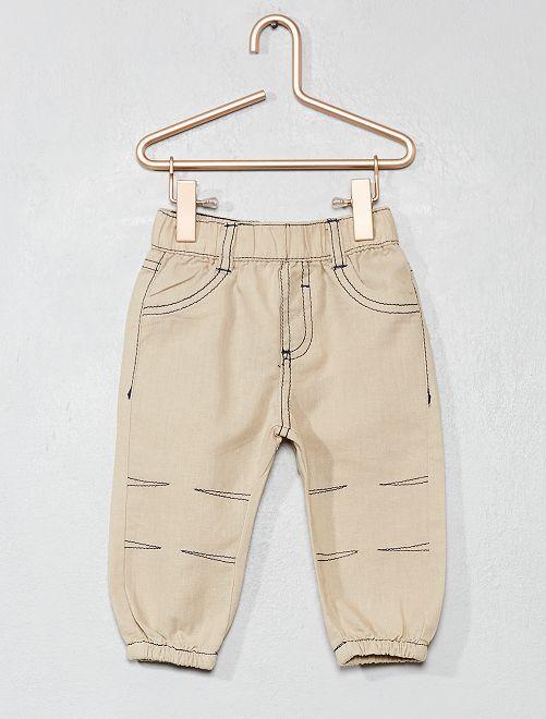 Pantaloni puro cotone                                                                 BEIGE Neonato