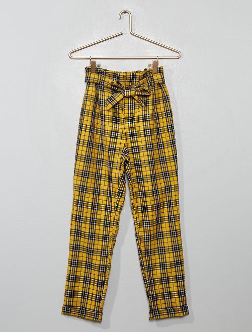 Pantaloni quadretti cintura da annodare                             a quadri giallo