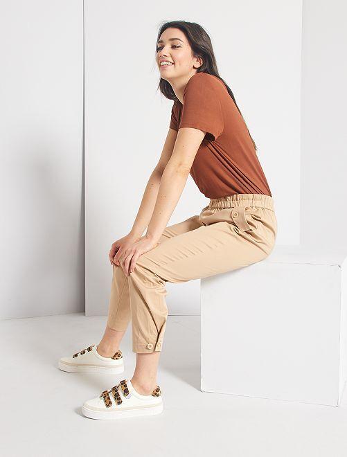 Pantaloni regular à vita elasticizzata                                         BEIGE