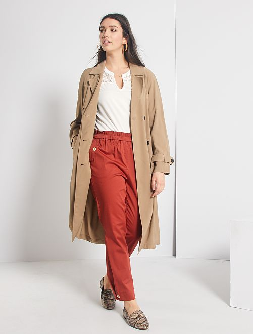 Pantaloni regular à vita elasticizzata                                         ROSSO