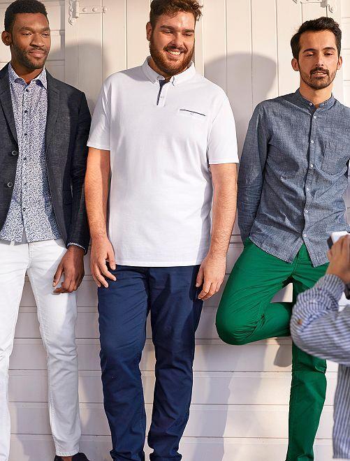 Pantaloni regular cotone stretch                             blu indaco Taglie forti uomo