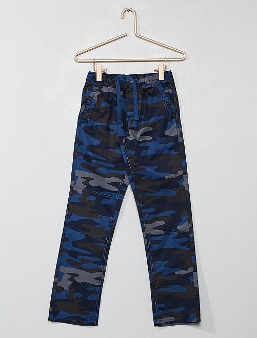 Pantaloni regular stampa mimetica                                         blu Infanzia bambino