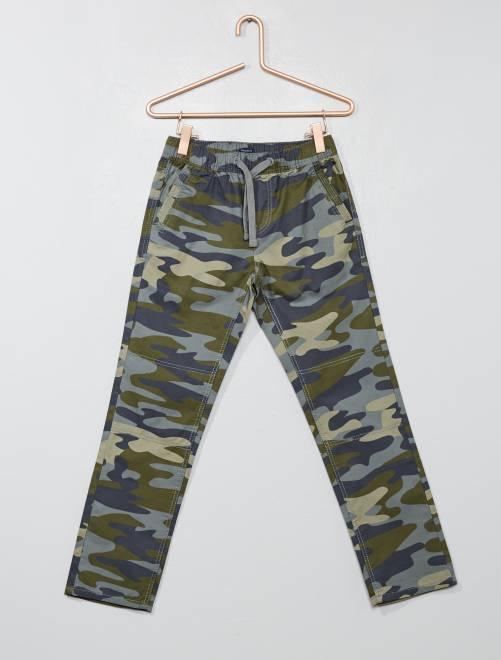 Pantaloni regular stampa mimetica                                         militare kaki Infanzia bambino