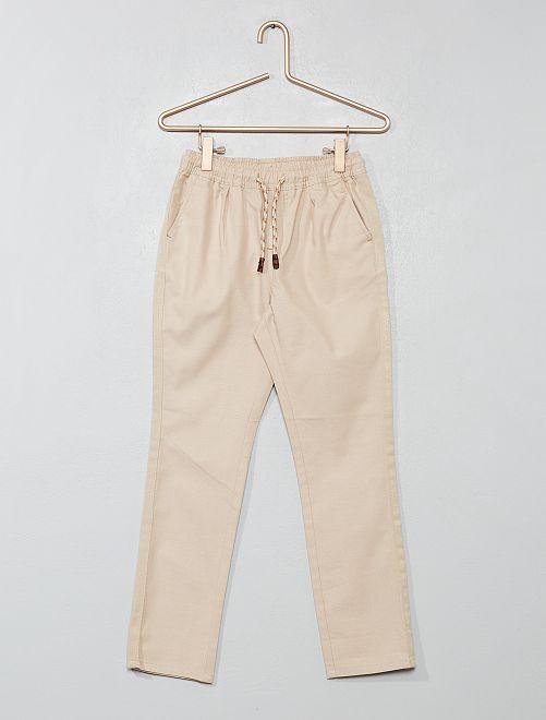 Pantaloni regular tinta unita                                 BEIGE Infanzia bambino