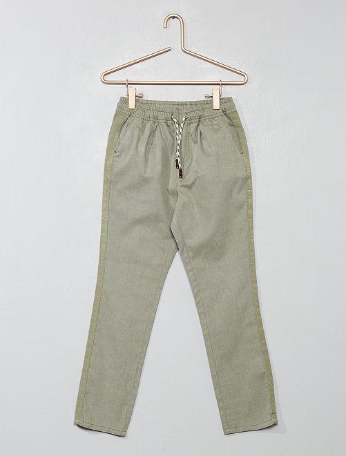 Pantaloni regular tinta unita                                         KAKI Infanzia bambino
