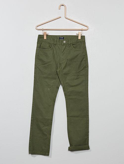 Pantaloni regular tinta unita                                                                             verde scuro