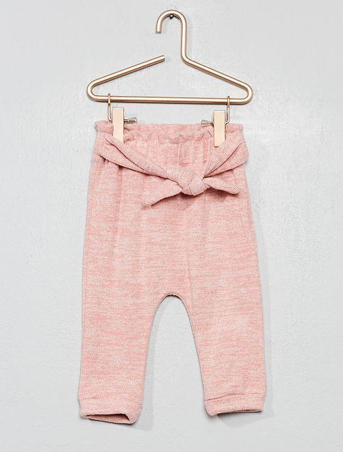 Pantaloni sarouel in maglia + calzini                             ROSA