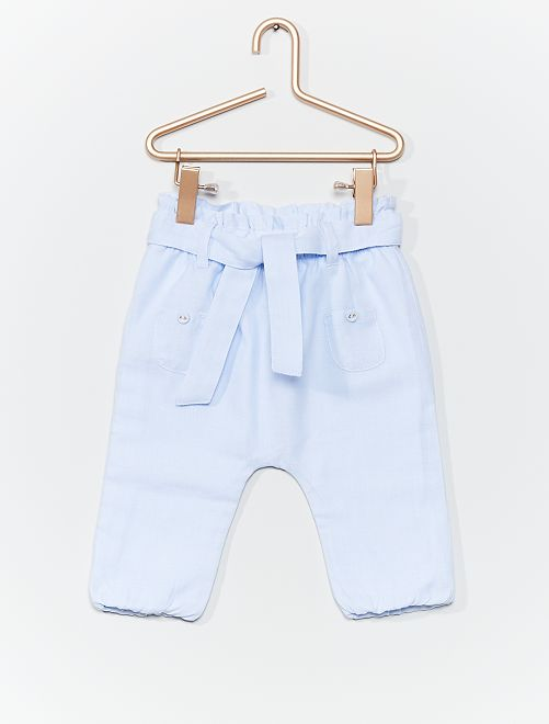 Pantaloni sarouel puro cotone                             BLU