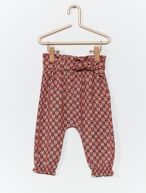 Pantaloni sarouel stampati                                                     ROSSO