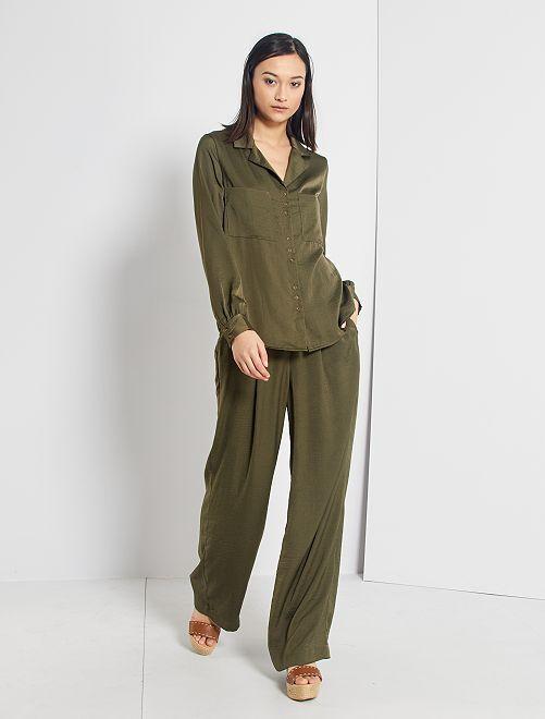 Pantaloni satinati                                                     verde scuro