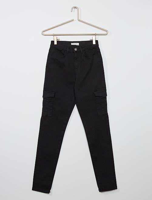 Pantaloni skinny cropped a vita molto alta                                                     nero