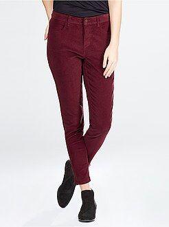 Pantaloni skinny velluto a coste zip fondo gamba