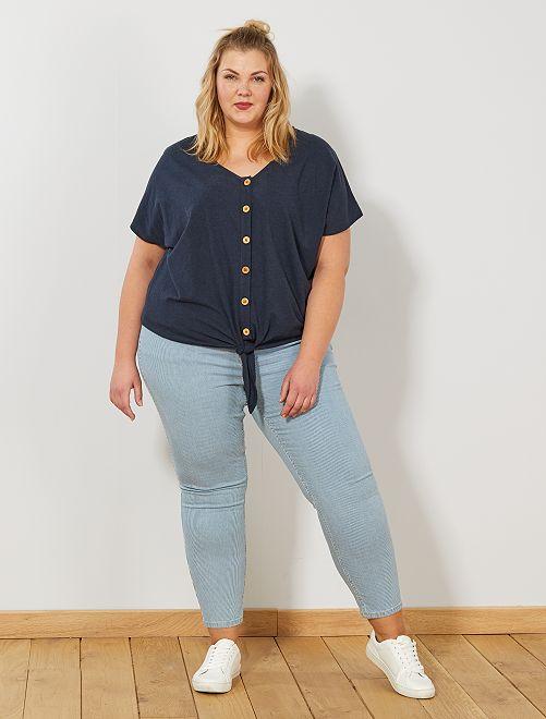 Pantaloni skinny vita alta                             BLU Taglie forti donna