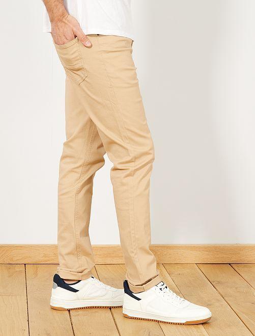 Pantaloni slim 5 tasche twill                                                                             BEIGE Uomo