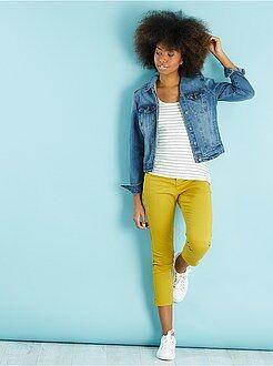 Pantaloni con stampa, colorati - Pantaloni slim 7/8 3 bottoni