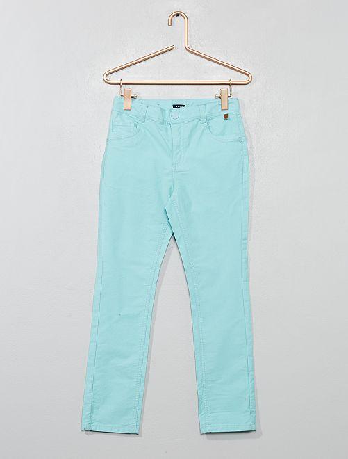Pantaloni slim cotone stretch                                         turchese Infanzia bambino