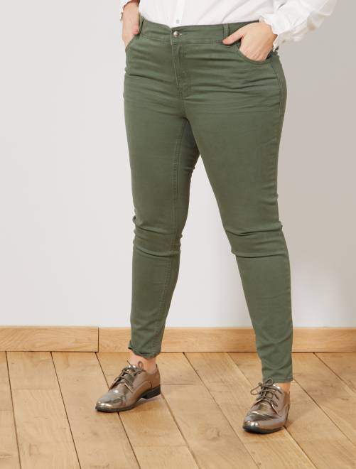 Pantaloni slim gabardine stretch                                                     verde scuro Taglie forti donna