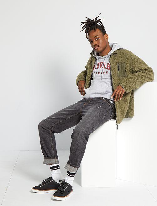 Pantaloni slim in denim di cotone                             NERO