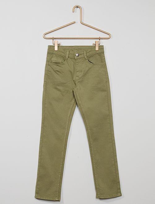 Pantaloni slim in twill eco-sostenibili                                                                                                                 kaki chiaro