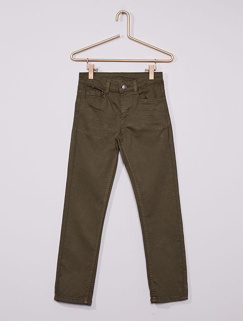 Pantaloni slim in twill eco-sostenibili                                                                                                                 verde scuro