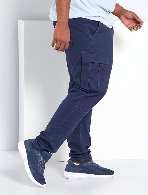 Pantaloni slim stile cargo                             BLU