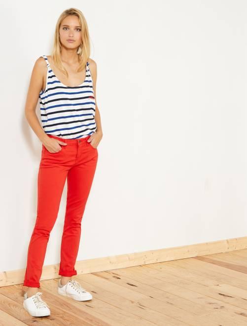 Pantaloni slim stretch 5 tasche                                                                                                                                                                 rosso Donna