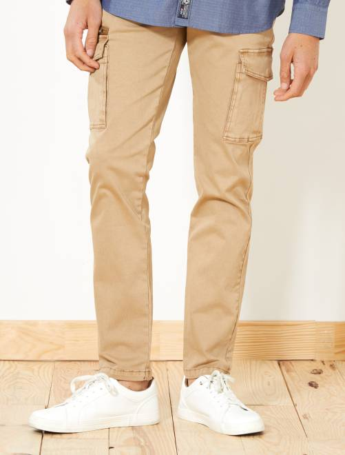 Pantaloni slim tasche cargo                             BEIGE Uomo