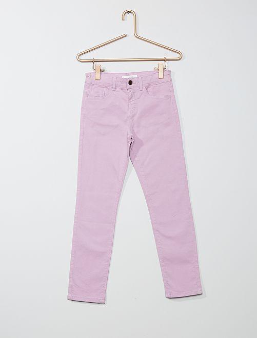 Pantaloni slim tinta uni                                                     malva chiaro