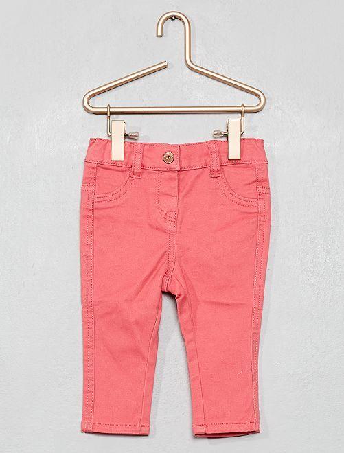 Pantaloni slim twill stretch                                                                             rosa