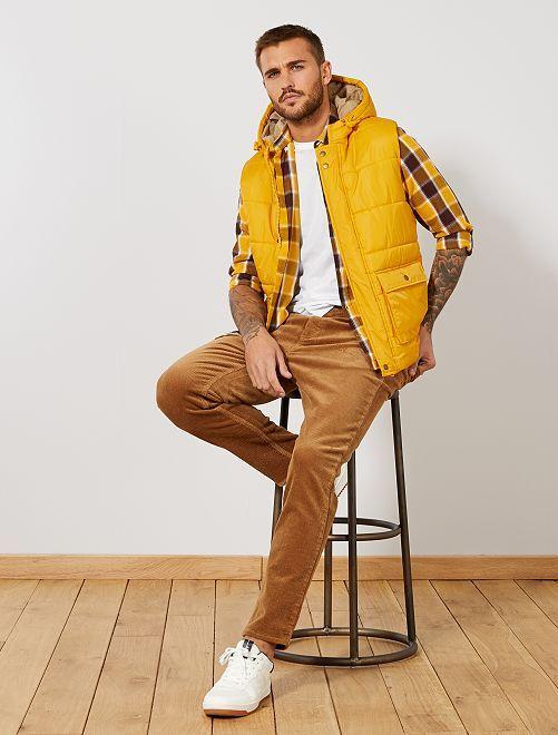 Pantaloni slim velluto a coste larghe                             BEIGE Uomo