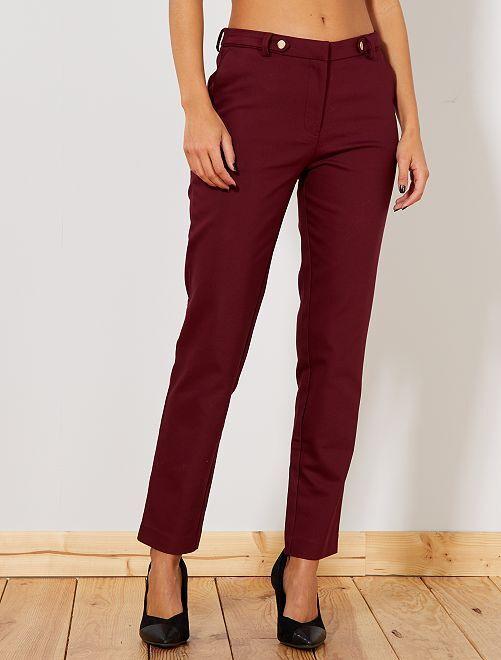 Pantaloni slim vita alta                     bordeaux Donna