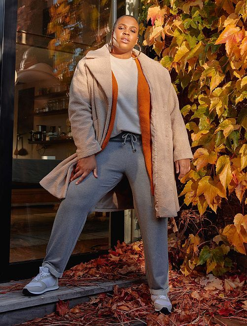 Pantaloni sport dettagli brillanti                     GRIGIO
