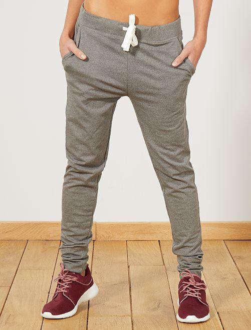 Pantaloni sport tessuto felpato                                 GRIGIO