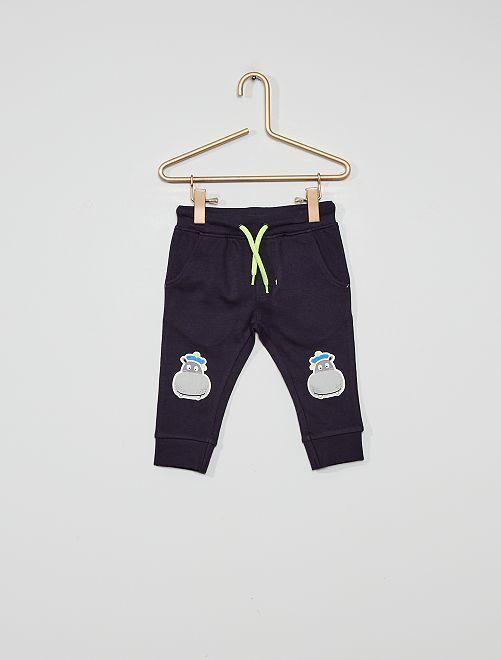 Pantaloni sportivi con patch 'ippopotami'                             blu marine