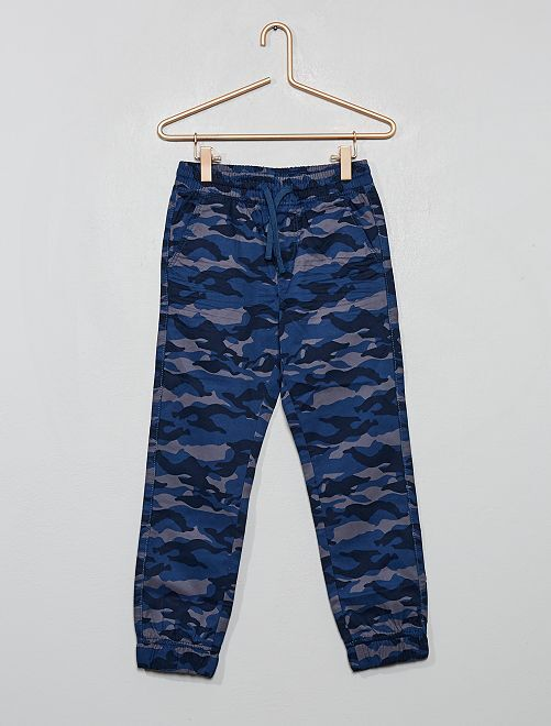 Pantaloni stampa 'mimetica'                                 BLU