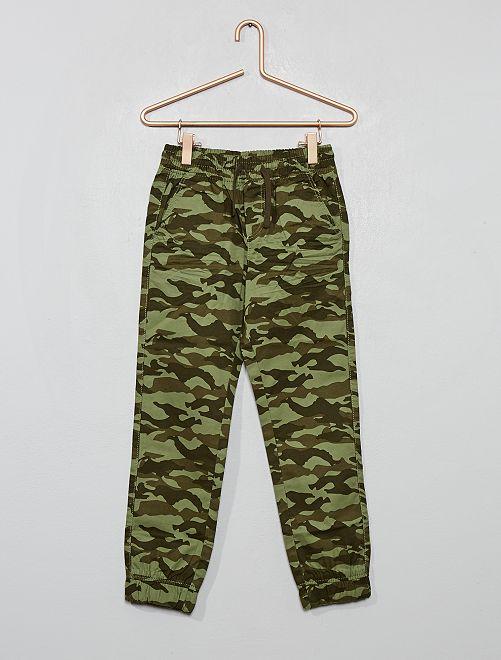 Pantaloni stampa 'mimetica'                                         KAKI