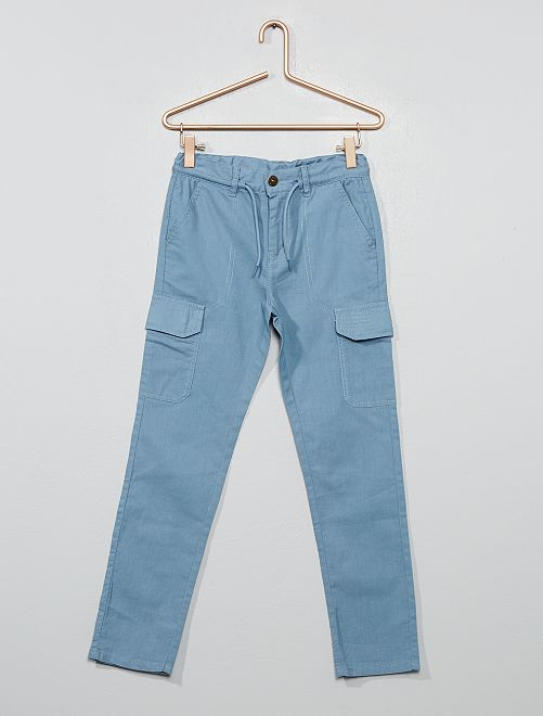 Pantaloni stile cargo in canvas                                         BLU
