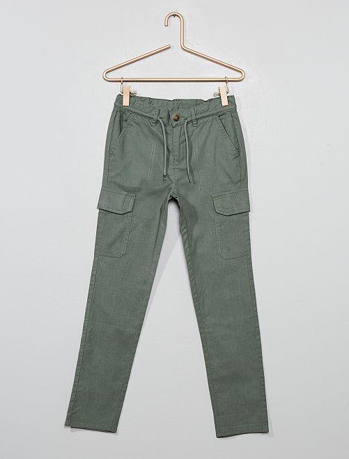 Pantaloni stile cargo in canvas                                         KAKI
