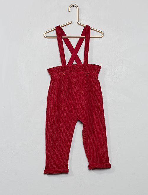 Pantaloni stile sarouel con bretelle                                         rosso scuro