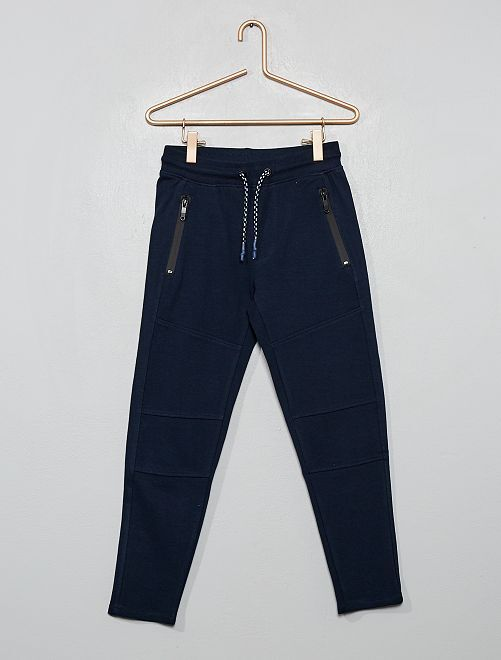 Pantaloni stile tuta tessuto felpato                                                                 blu