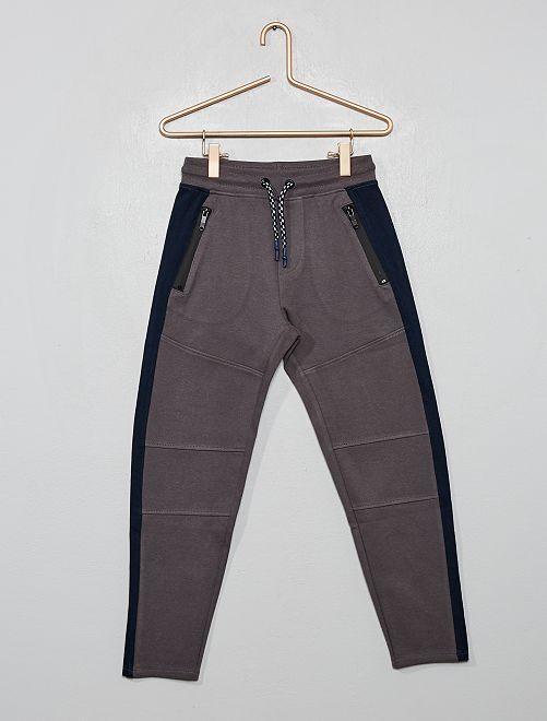 Pantaloni stile tuta tessuto felpato                                                     GRIGIO