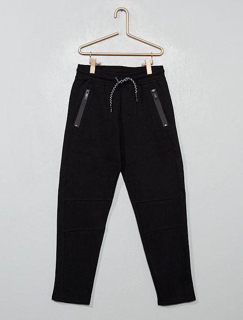 Pantaloni stile tuta tessuto felpato                                                                 nero