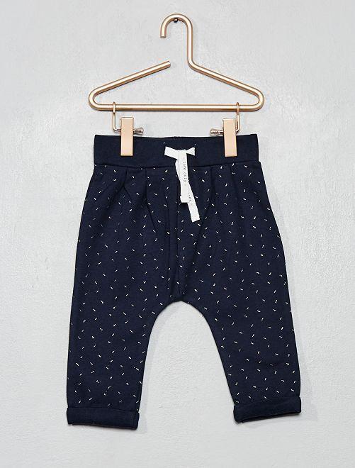 Pantaloni tessuto felpato con stampa                                                     BLU