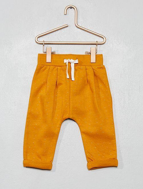 Pantaloni tessuto felpato con stampa                                                     GIALLO