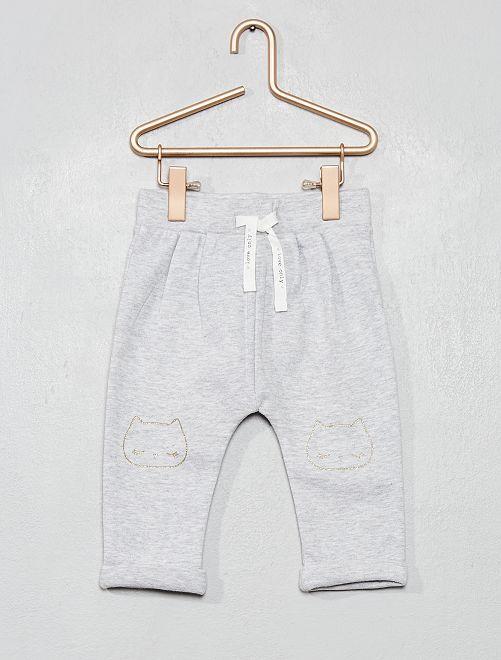Pantaloni tessuto felpato con stampa                                                     GRIGIO